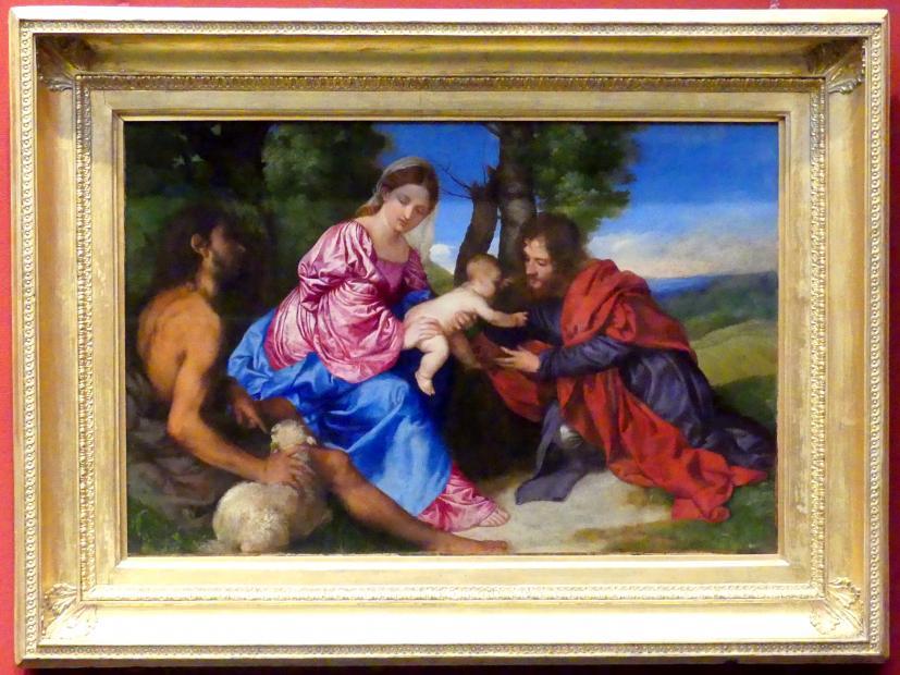 Tiziano Vecellio (Tizian): Maria mit Kind in einer Landschaft mit Johannes dem Täufer und einem männlichen Heiligen, um 1518 - 1520