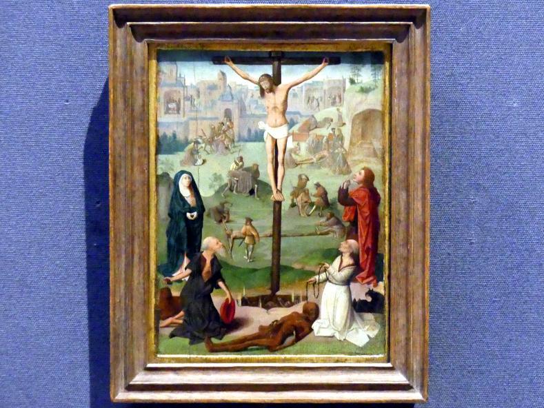Geertgen tot Sint Jans (Umkreis): Kreuzigung mit den hll. Hieronymus und Dominikus und Szenen aus der Passion, um 1478 - 1490