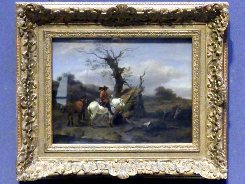 """Nicolaes Berchem: Feldlager mit einer Figur auf einem Schimmel (""""Die Vogelfalle""""), um 1660"""