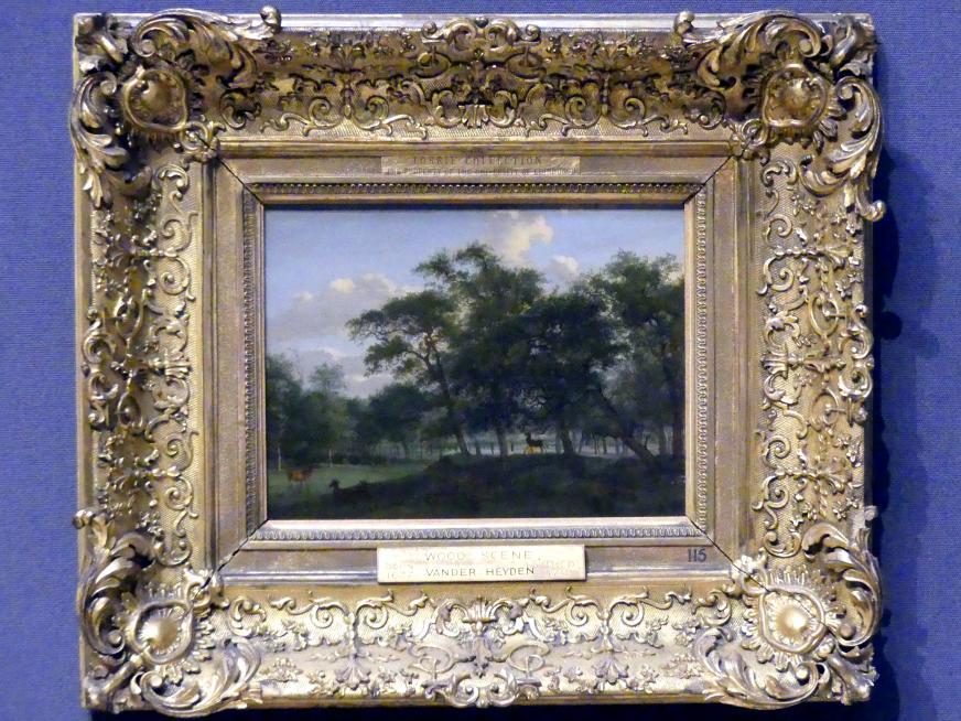 Jan van der Heyden: Bewaldete Parklandschaft mit Hirschen, um 1665 - 1670