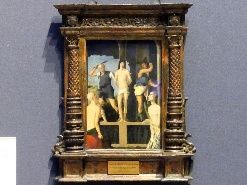 Francesco Marmitta: Geißelung Christi mit den hll. Hieronymus und Benedikt, um 1495 - 1500