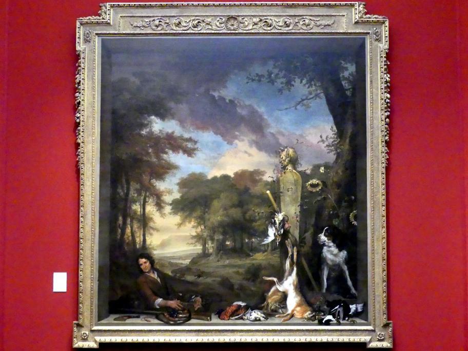 Jan Weenix: Landschaft mit Jäger und totem Wild (Allegorie des Geruchssinnes), 1697
