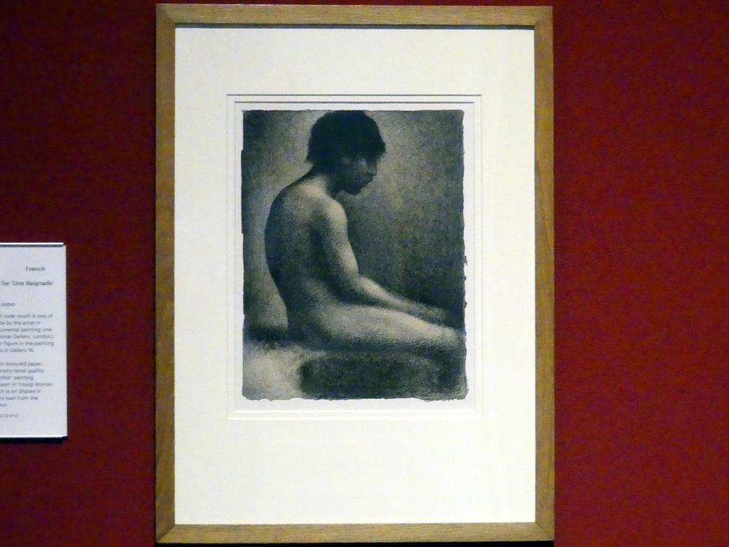 """Georges Seurat: Sitzender Akt: Studie für """"Une Baignade"""", 1883"""