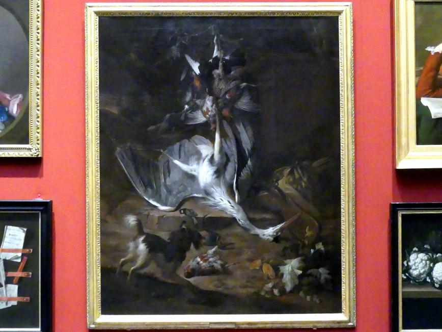 William Gouw Ferguson: Stillleben mit Wild, Reiher und Cocker Spaniel, 1677