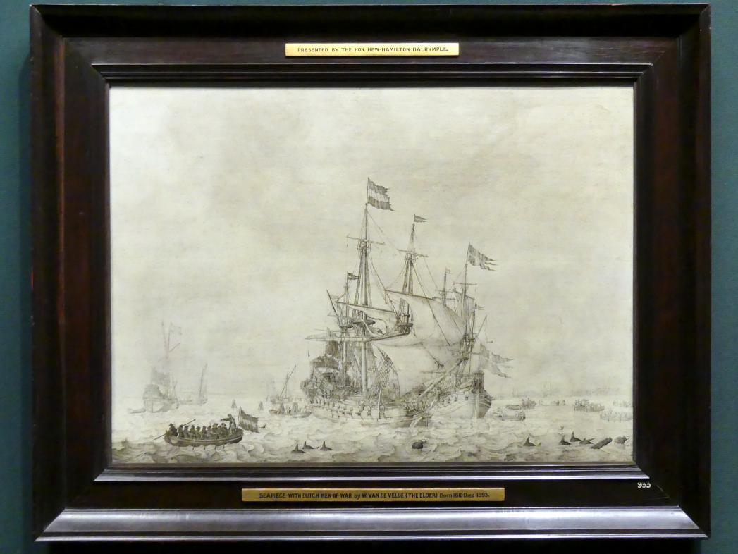 Willem van de Velde der Ältere: Seestück mit holländischem Kaufmannsschiff und schwedischer Fleute, 1650