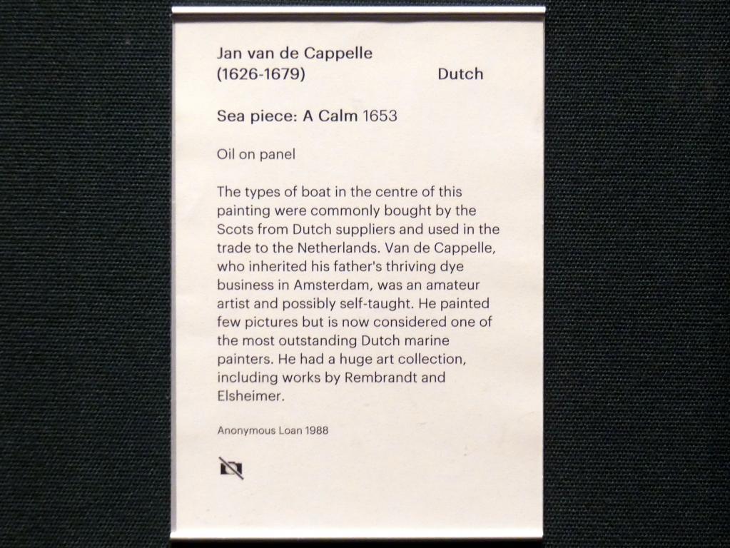 Jan van de Cappelle: Seestück: Flaute, 1653