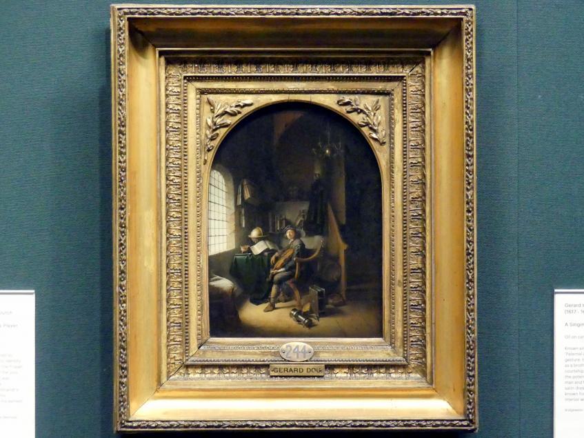 Gerard Dou (Gerrit Dou): Interieur mit jungem Violaspieler, 1637