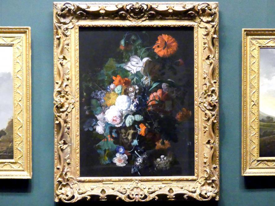 Jan van Huysum: Blumenstillleben in einer Steinvase, um 1718