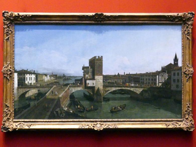 Bernardo Bellotto (Canaletto): Blick auf Verona mit der Ponte delle Navi, um 1746 - 1747