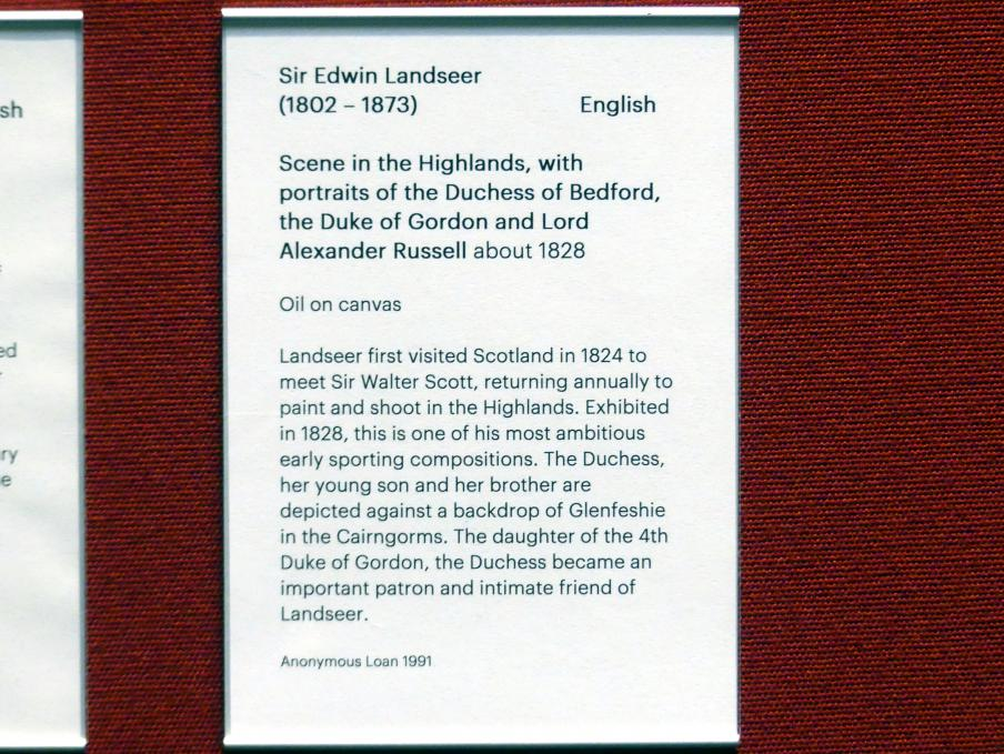 Edwin Landseer: Duchess of Bedford, Duke of Gordon und Lord Alexander Russell in einer Landschaft, um 1828, Bild 2/2