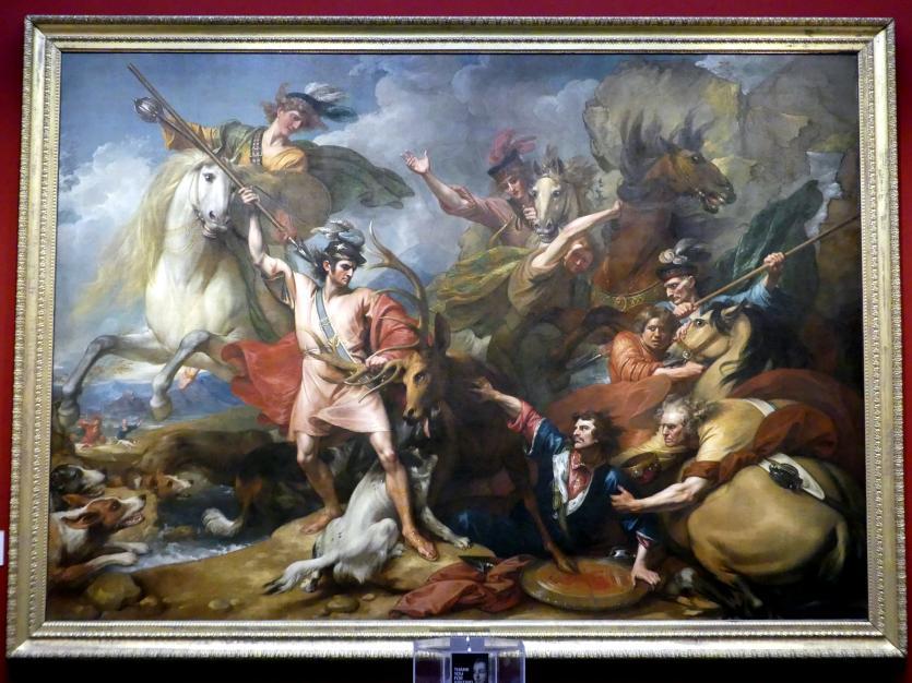 Benjamin West: Der furchtlose Colin Fitzgerald rettet Alexander III. vor einem scheuen Hirsch, 1786