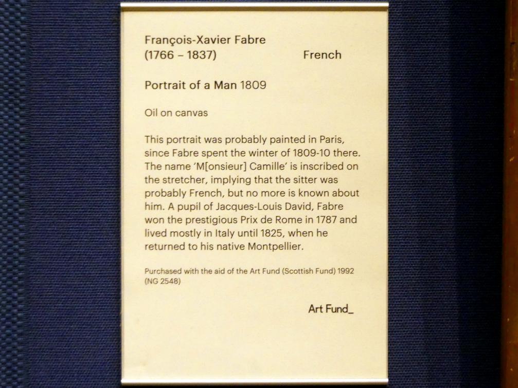 François-Xavier Fabre: Bildnis eines Mannes, 1809, Bild 2/2