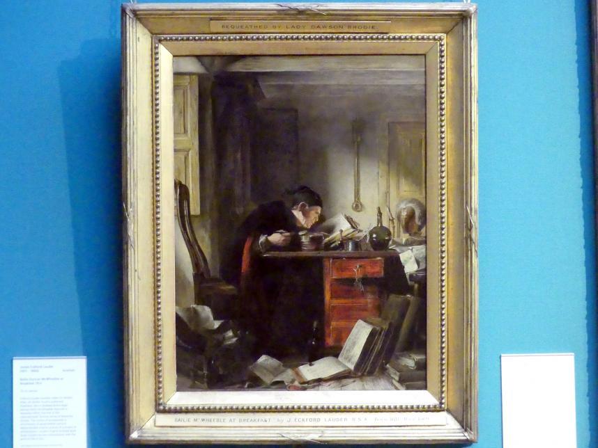 James Eckford Lauder: Bailie Duncan McWheeble beim Frühstück, 1854