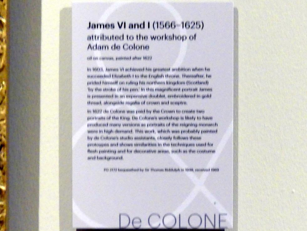 Adam Louisz. de Colonia (Werkstatt): James VI und I (1566-1625), nach 1622, Bild 2/2