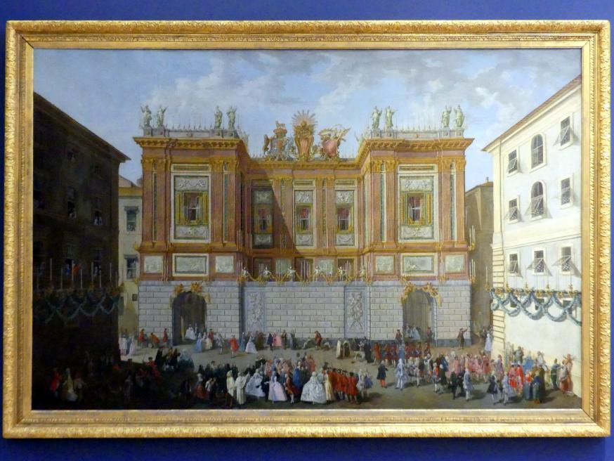 Paolo Monaldi: Prince James empfängt seinen Sohn Prince Henry vor dem Palazzo Muti Papazzurri 1747, um 1747 - 1748