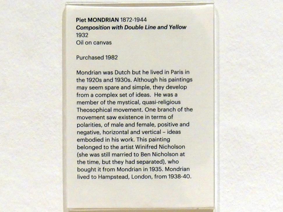 Piet Mondrian: Komposition mit doppelter Linie und Gelb, 1932, Bild 2/3
