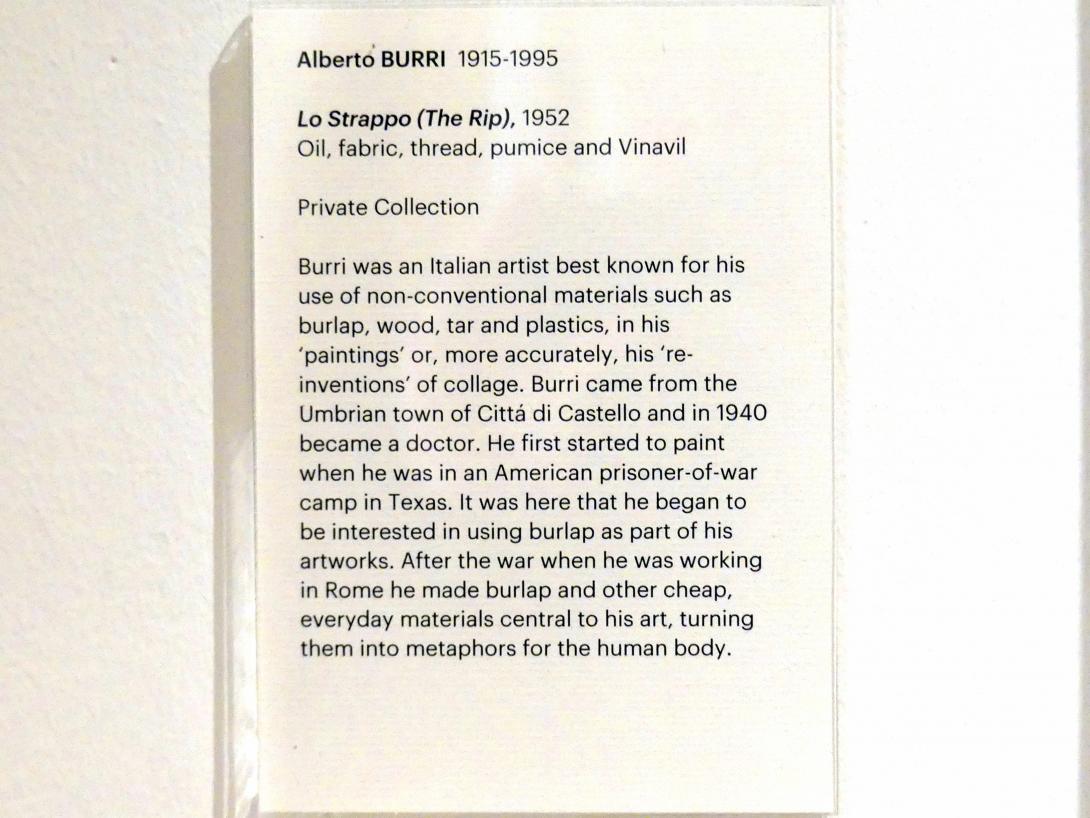 Alberto Burri: Lo Strappo (Der Riss), 1952, Bild 2/2