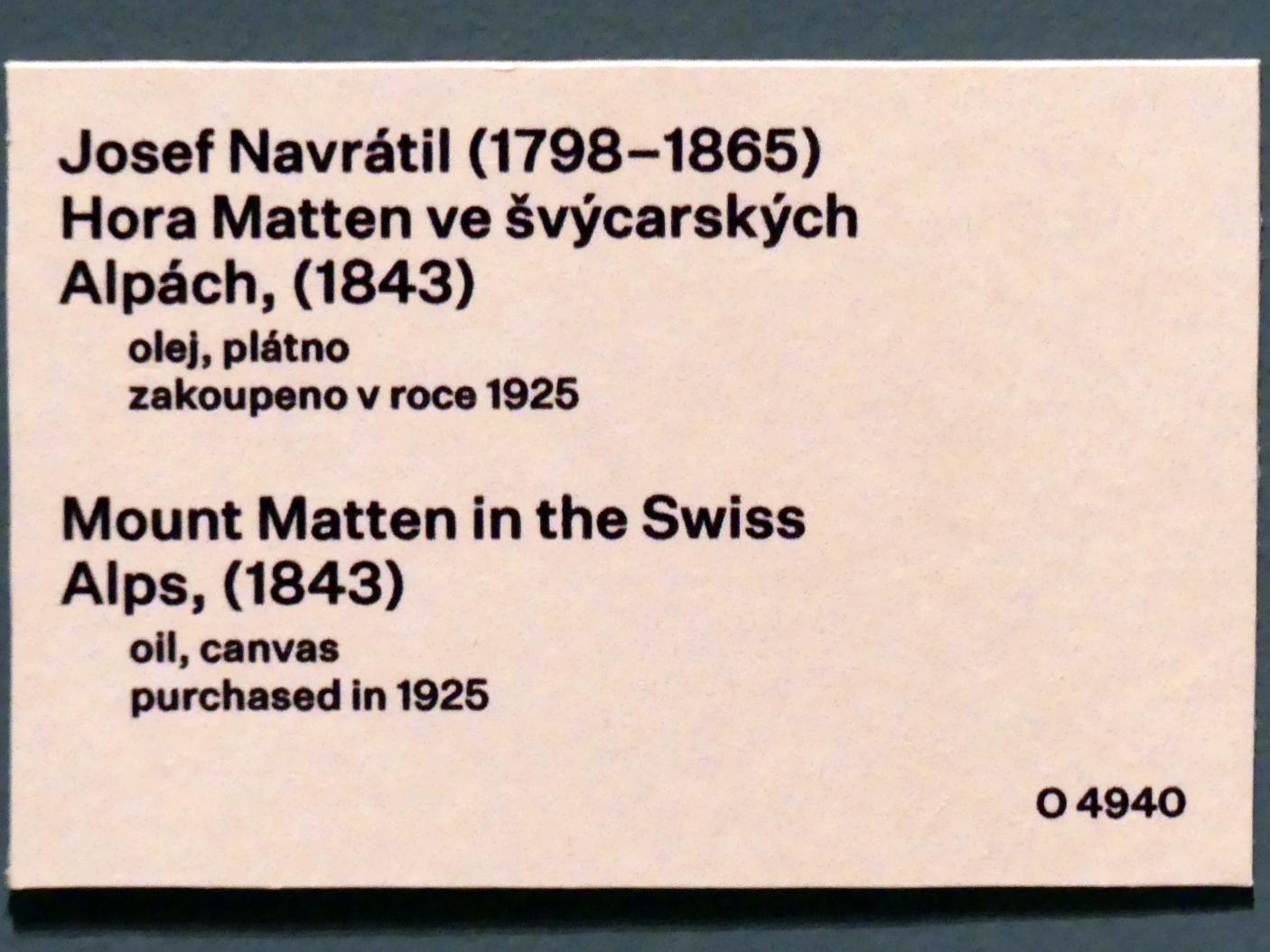 Josef Navrátil: Berg Matten in den Schweizer Alpen, 1843, Bild 2/2