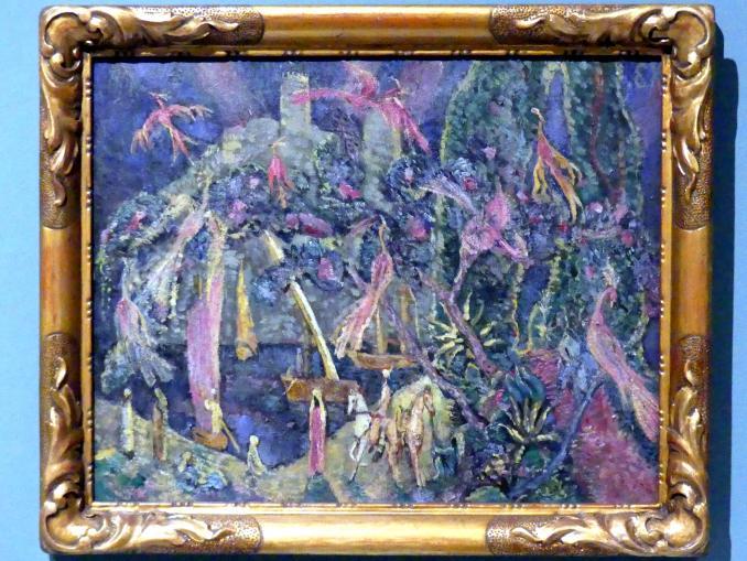 Eugen von Kahler: Komposition mit Vögeln und orientalischen Reitern (Orientalisches Märchen), um 1908
