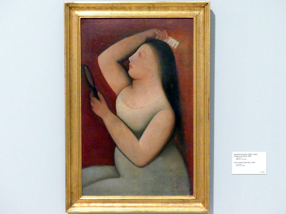 Rudolf Kremlička: Mädchen ihr Haar kämmend, 1922
