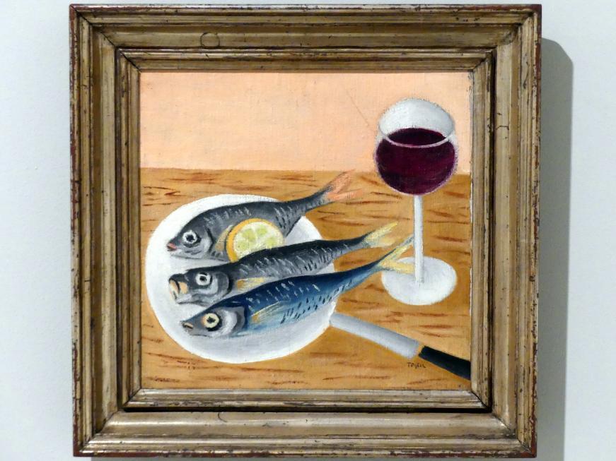 Toyen (Marie Čermínová): Stillleben mit Fisch und Rotwein, 1922