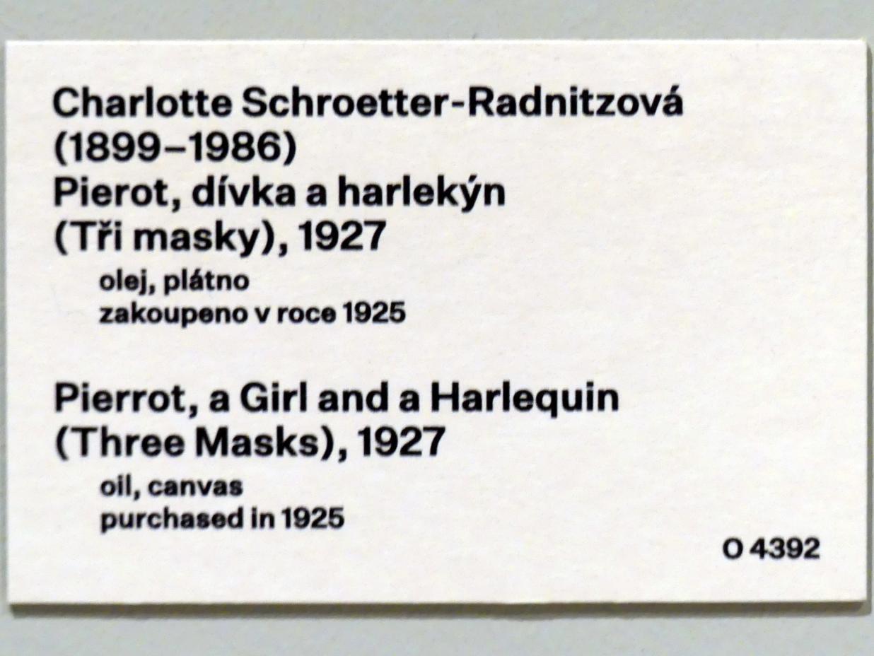 Charlotte Schrötter-Radnitz: Pierrot, ein Mädchen und ein Harlekin (Drei Masken), 1927, Bild 2/2