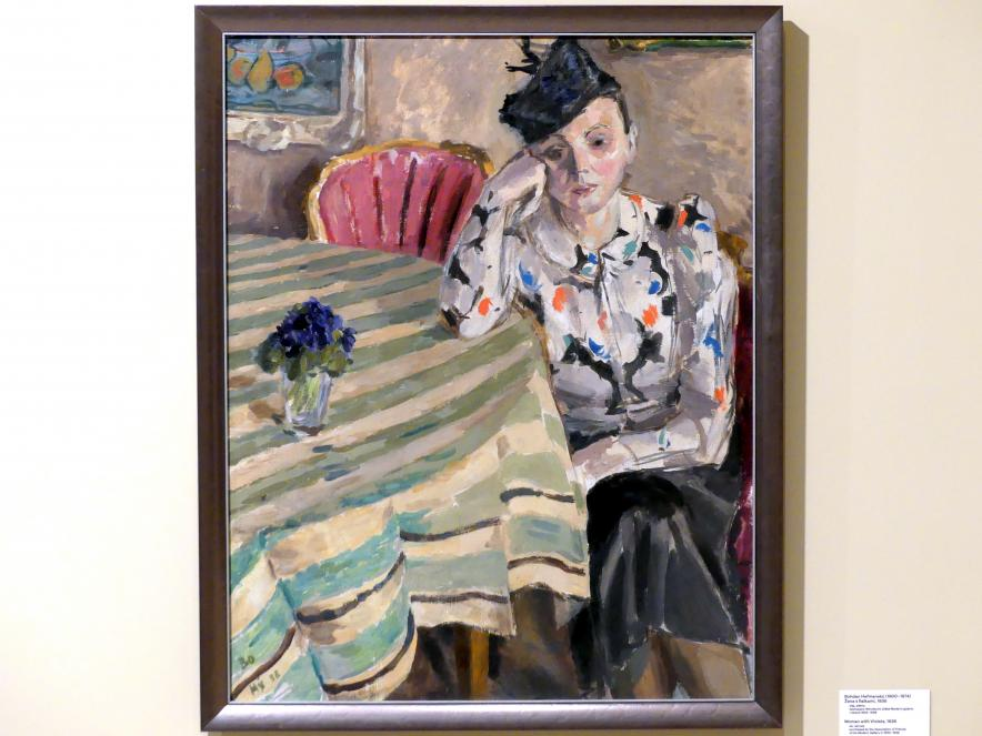 Bohdan Heřmanský: Frau mit Veilchen, 1938, Bild 1/2