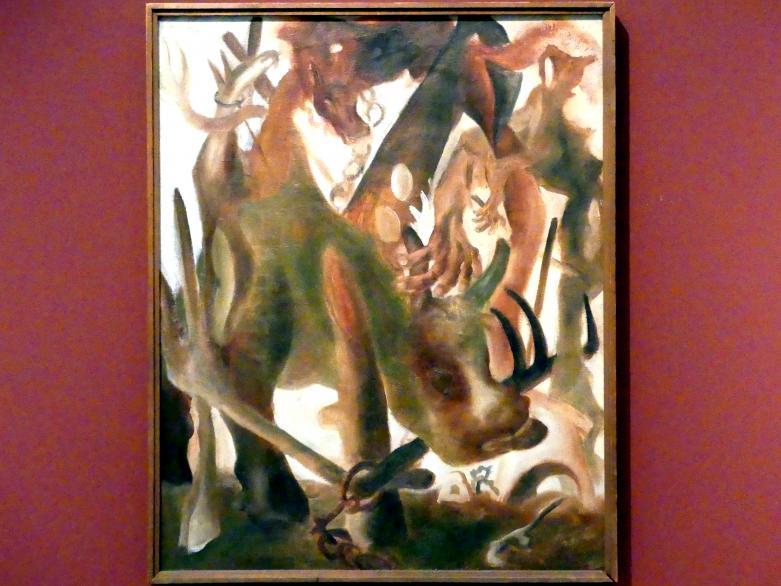 Zdeněk Rykr: Dorfszene (Dorfbewohner mit Kuh), 1936