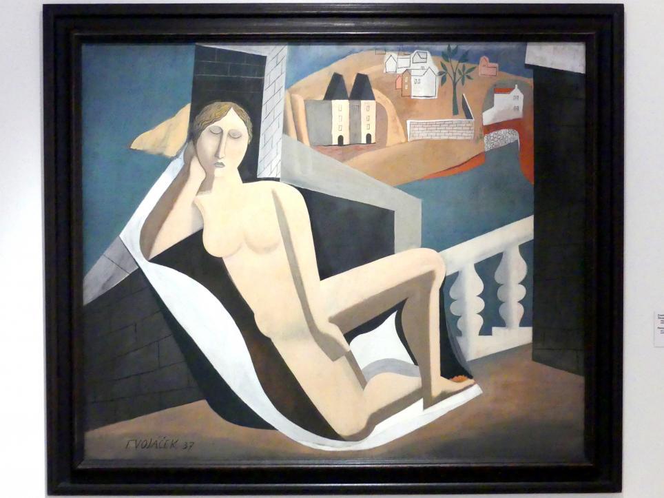 František Vobecký: Weiblicher Akt in einer Landschaft, 1937