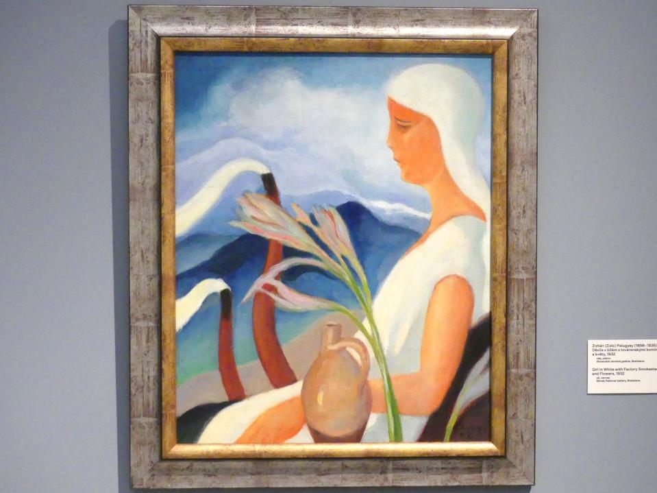 Zoltán Palugyay: Mädchen in Weiß mit Fabrikschornsteinen und Blumen, 1932