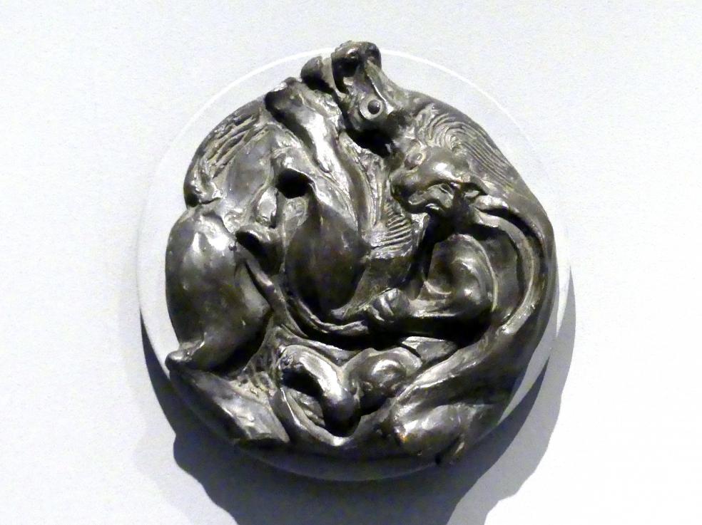 Emil Filla: Pferd attackiert von einem Tiger, 1938