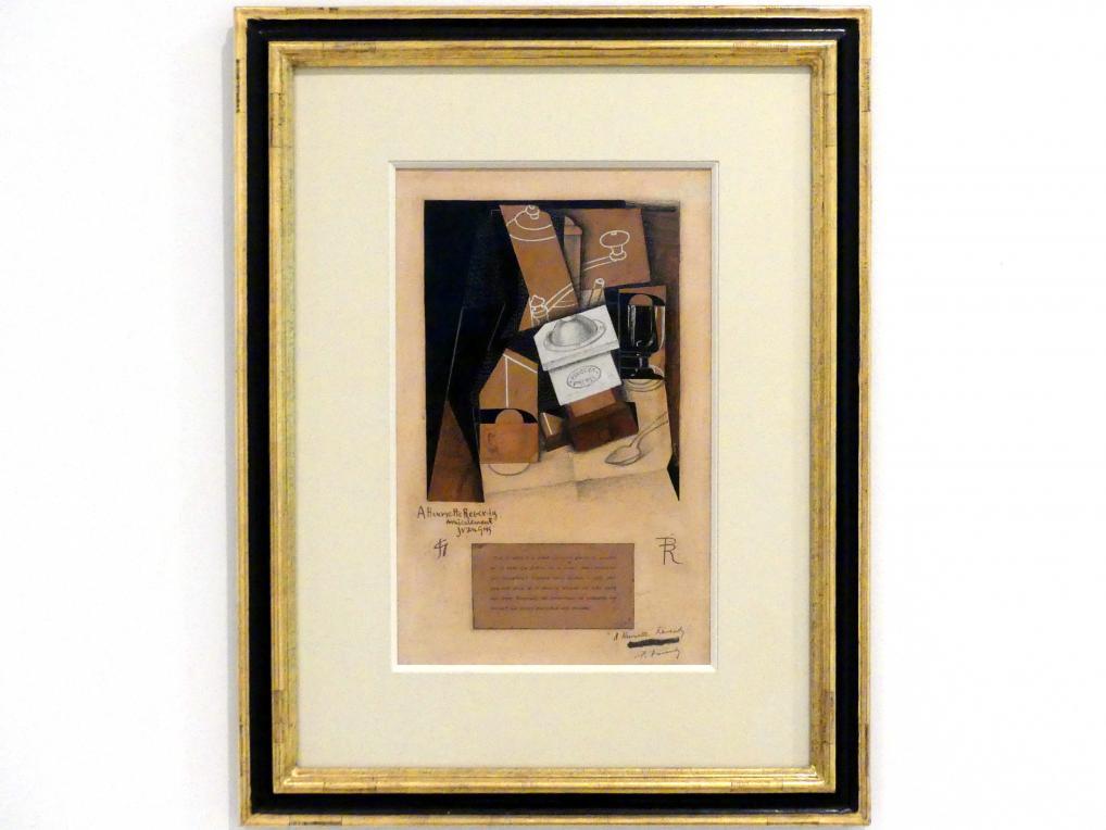 Juan Gris: Kaffeemühle, Tasse und Glas auf einem Tisch, 1915 - 1916