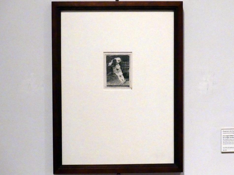 Francisco de Goya (Francisco José de Goya y Lucientes): Die Inhaftierung eines Angeklagten verlangt keine Folterung, um 1810 - 1820