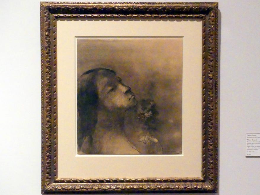 Odilon Redon: Blume des Bösen, auch: Frau an einer Blume riechend, auch: Frau beim Einatmen von Blumenduft, um 1890