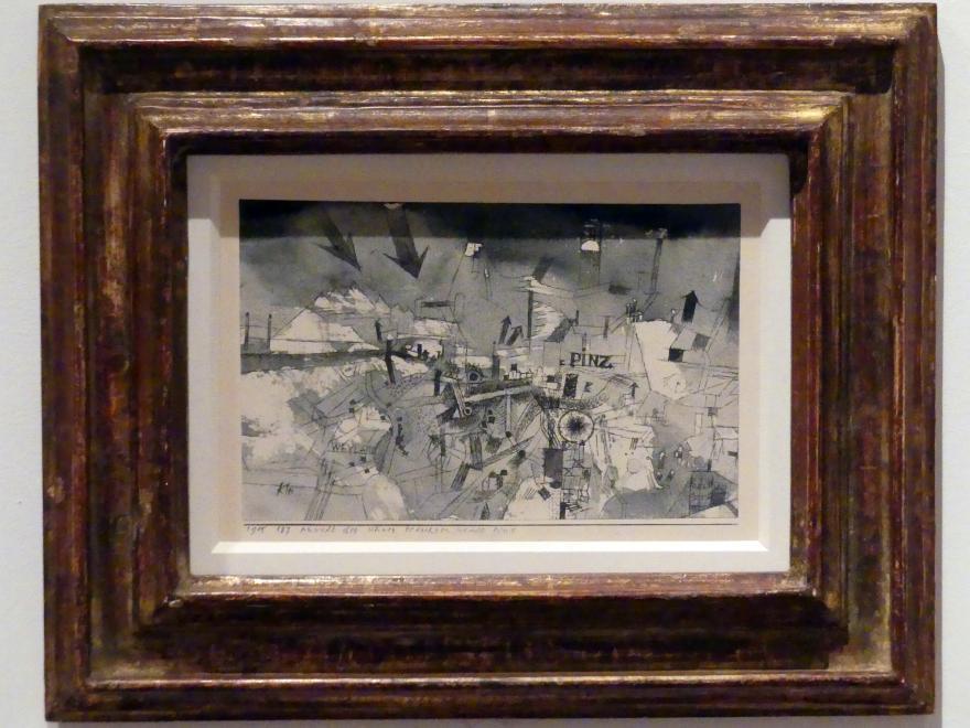 Paul Klee: Ansicht der schwer bedrohten Stadt Pinz (1915, 187), 1915