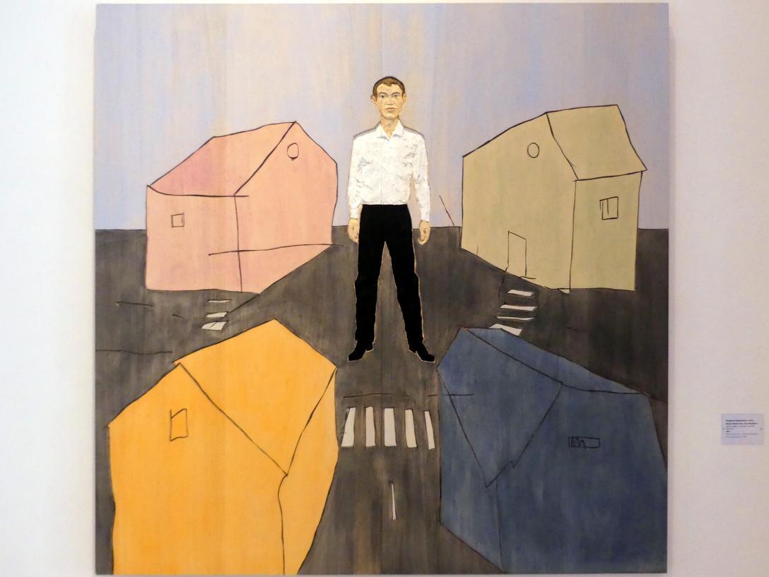 Stephan Balkenhol: Relief Mann vor vier Häusern, 2017