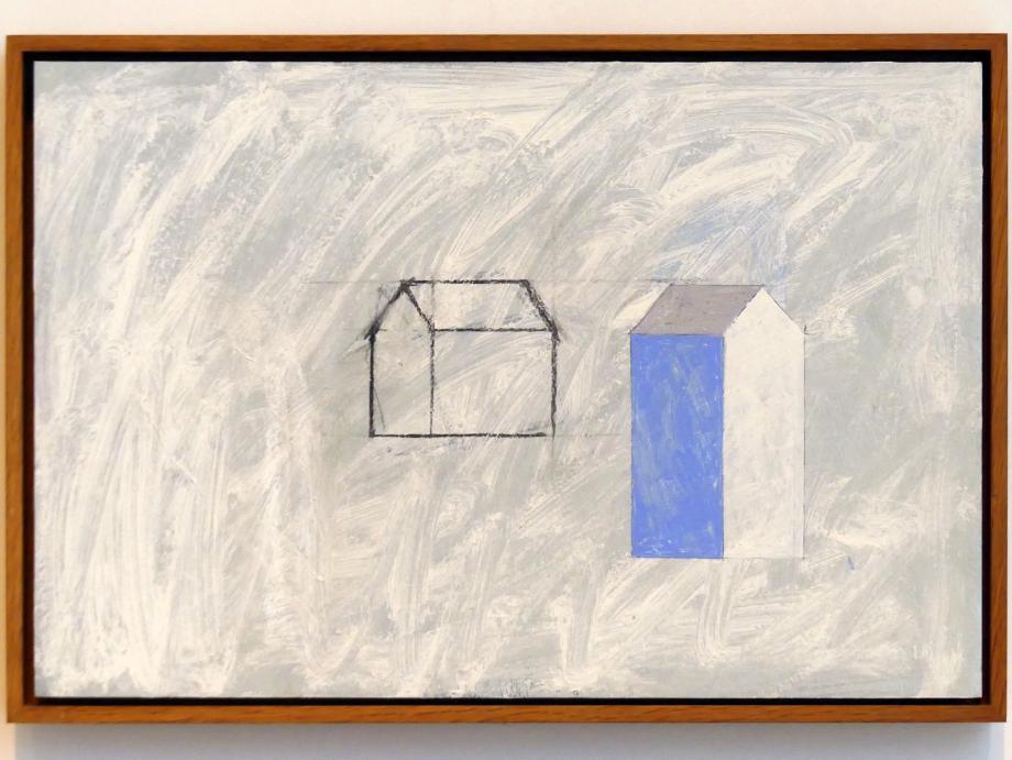 Horst Antes: Haus, Hauszeichnung, weißer Grund, 1991