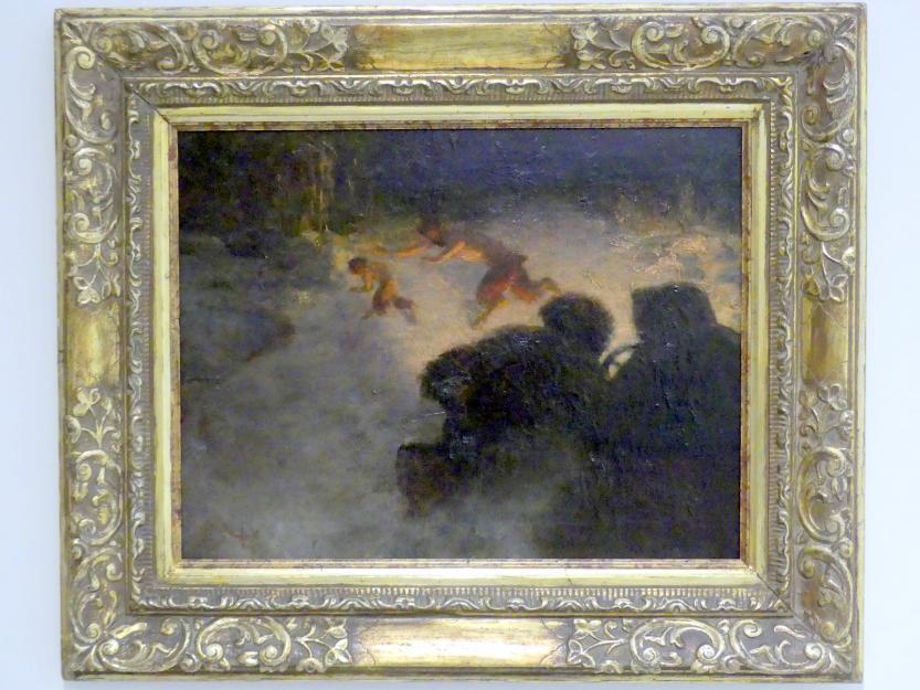 Beneš Knüpfer: Faunen auf der Flucht vor einem Auto, 1905