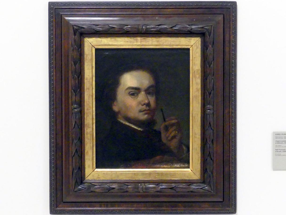 Karel Purkyně: Selbstporträt mit Palette und Pinsel, 1856