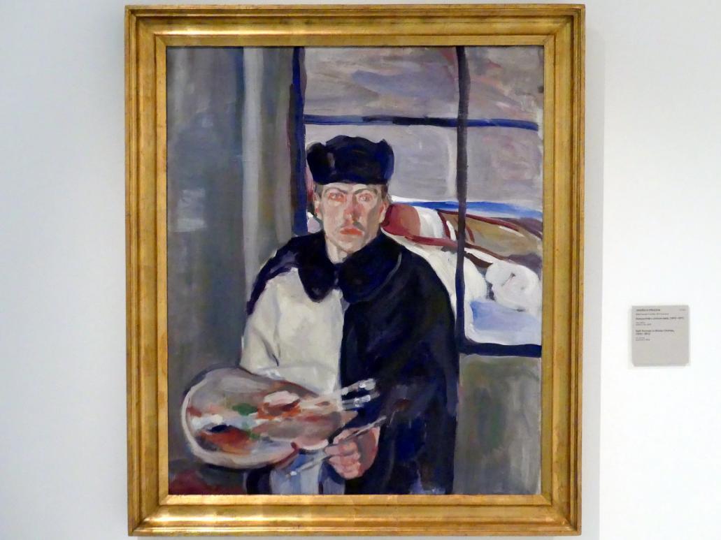 Jindřich Prucha: Selbstporträt in Winterkleidung, 1910 - 1911