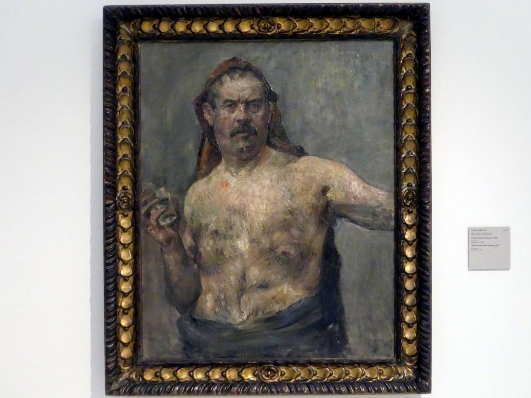 Lovis Corinth: Selbstporträt mit Glas, 1907