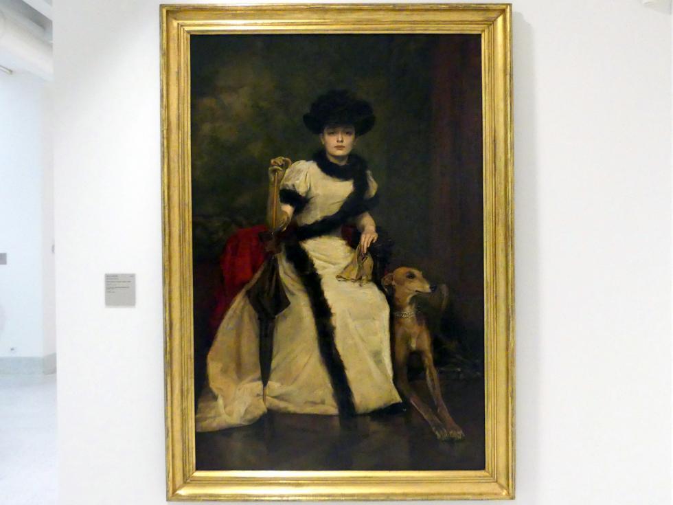 Václav Brožík: Bildnis einer Dame mit Windhund, 1895 - 1897