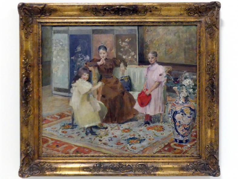 Vojtěch Hynais: Frau Hrušová mit Tochter (Familienporträt), Studie, 1890