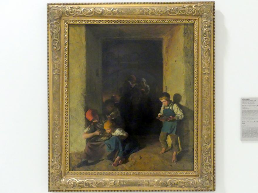 Ferdinand Georg Waldmüller: Kinder erhalten ihr Frühstück, 1859