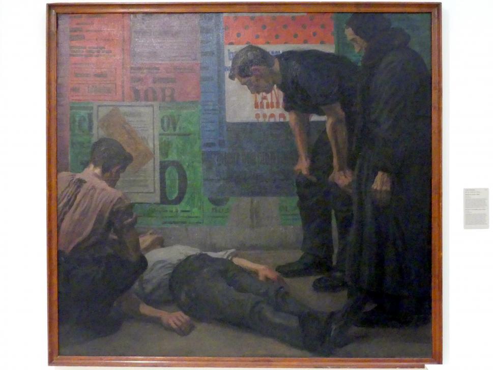 Karel Myslbek: Unfall auf der Baustelle, 1909