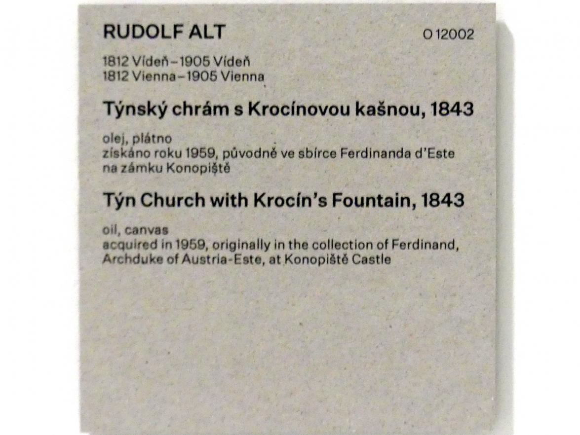 Rudolf von Alt: Teynkirche mit dem Krocin-Brunnen, 1843, Bild 2/2