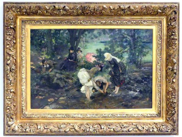 Vojtěch Hynais: Truppe auf dem Land (Bei einem Ausflug, Flusskrebse fangen), 1889