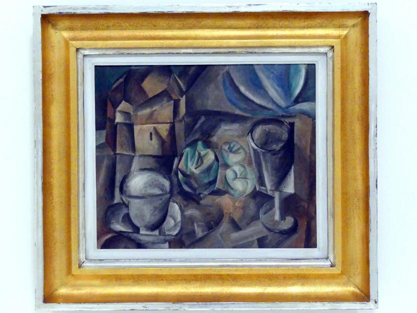 Pablo Picasso: Kasten, Tasse, Apfel und Glas, 1909