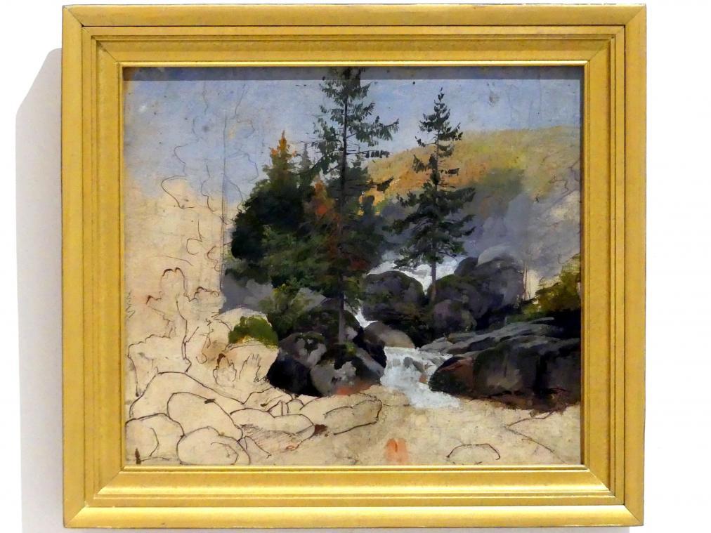 Josef Mánes: Stromschnellen im Wald, 1848