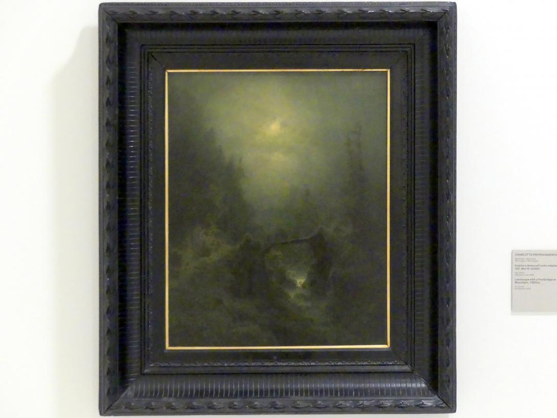 Charlotte Piepenhagen: Landschaft mit Steg bei Mondschein, um 1850 - 1860